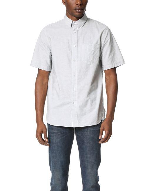 Rag bone short sleeve button down oxford shirt in blue for White short sleeve button down shirts for men