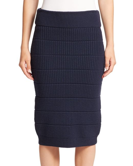 marc by marc stretch wool pencil skirt in blue