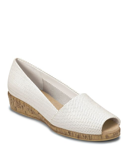 Aerosoles | White Sprig Break Leather And Cork Wedges | Lyst