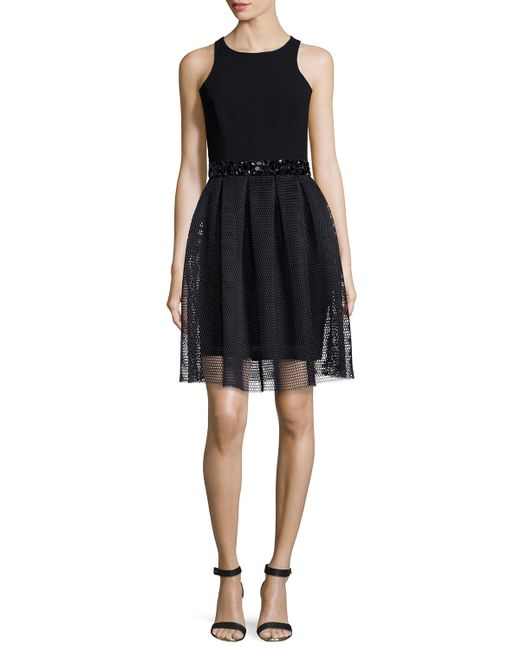 Sachin & Babi | Black Sleeveless Beaded-waist Mesh-skirt Dress | Lyst