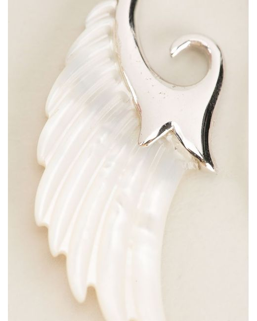 Noor Fares | Metallic 18kt Yellow Gold And Pearl Asymmetric 'wing' Earrings | Lyst