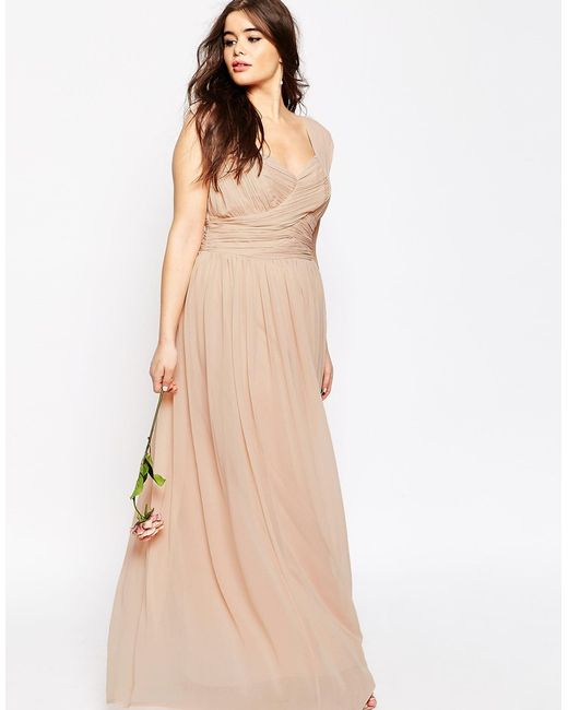 Asos Curve Wedding Maxi Dress With Ruched Panel In Beige