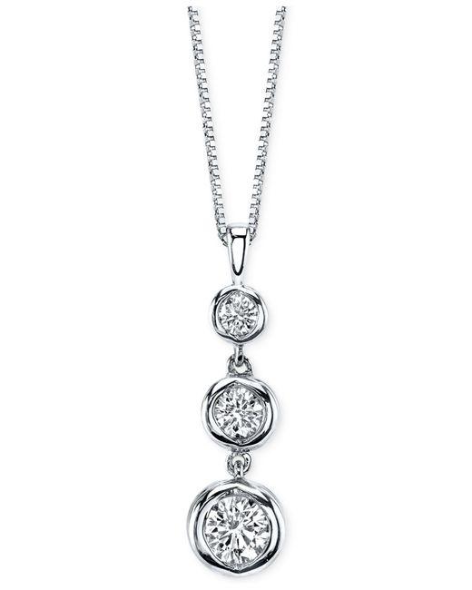 Sirena Diamond Three Stone Drop Pendant Necklace 1 2 Ct T W In 14k Gold Or White Gold In