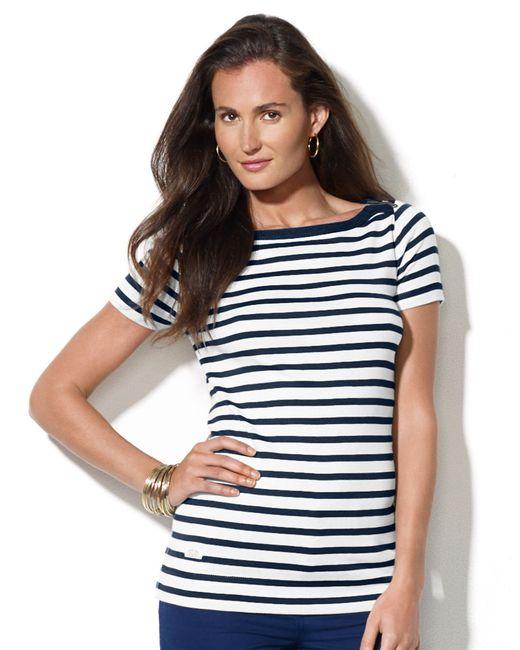 Lauren by Ralph Lauren | Blue Striped Bateau Shirt | Lyst