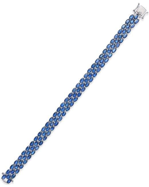 Macy's | Blue Sapphire Three-row Bracelet (25 Ct. T.w.) In Sterling Silver | Lyst