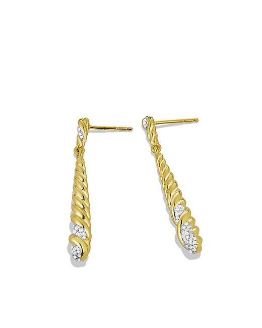 David Yurman | Metallic Willow Medium Drop Earrings With Diamonds In Gold | Lyst
