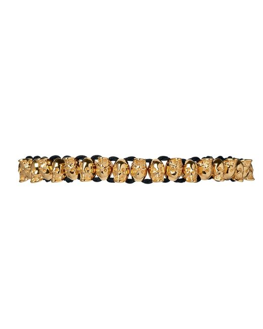 Links of London | Metallic Yellow Gold Skull Friendship Bracelet | Lyst