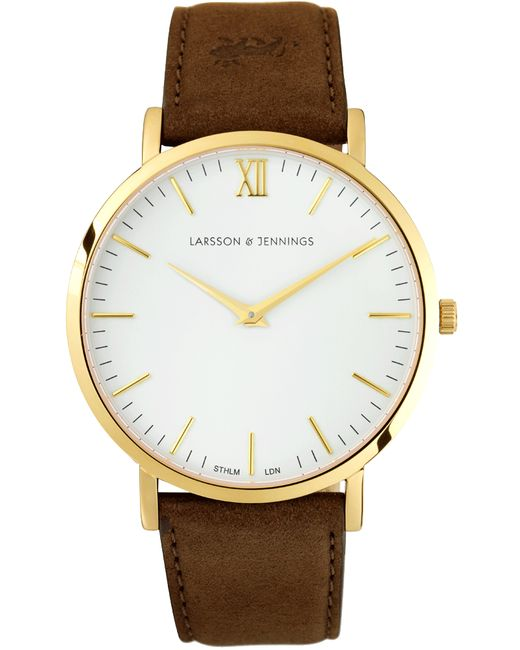 Larsson & Jennings | White 'lãder Brown' Leather Strap Watch | Lyst
