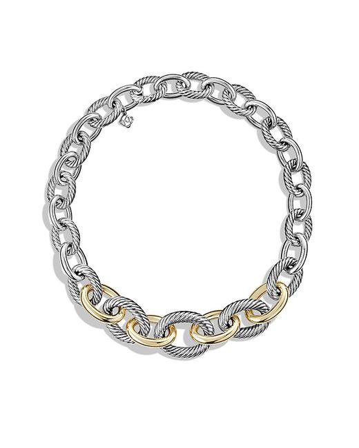 David Yurman | Metallic Medium Oval Chain Necklace With 14k Gold | Lyst