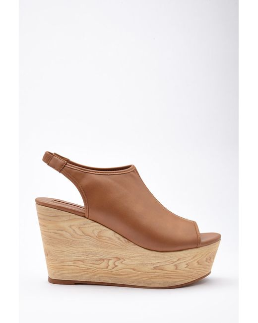 Forever 21 | Brown Faux Leather Slingback Wedges | Lyst