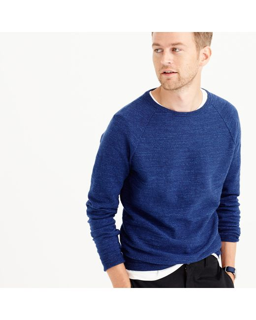 J.Crew | Blue Slim Rugged Cotton Sweater for Men | Lyst