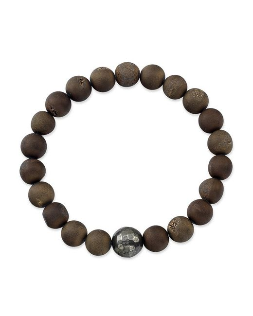 Anne Sisteron | Brown Agate Stretch Bracelet With Pyrite Stone | Lyst