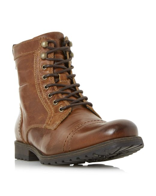 Dune - Brown Cowell Toe Cap Lace Up Worker Boots for Men - Lyst