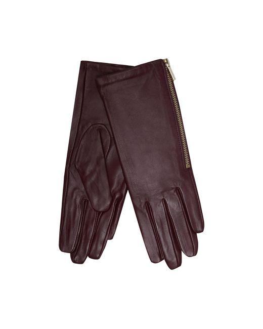 J By Jasper Conran - Dark Red Leather Side Zip Gloves - Lyst