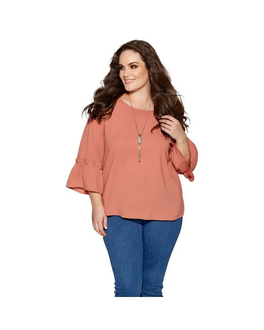Quiz - Orange Curve Terracotta Frill Sleeve Necklace Top - Lyst
