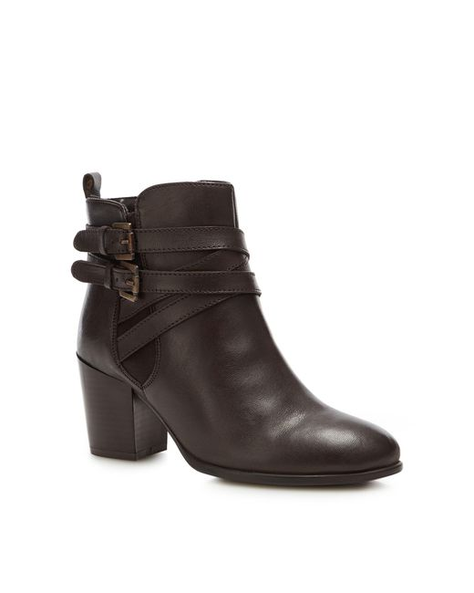 Lotus - Brown Leather 'Taggerty' Mid Block Heel Ankle Boots - Lyst