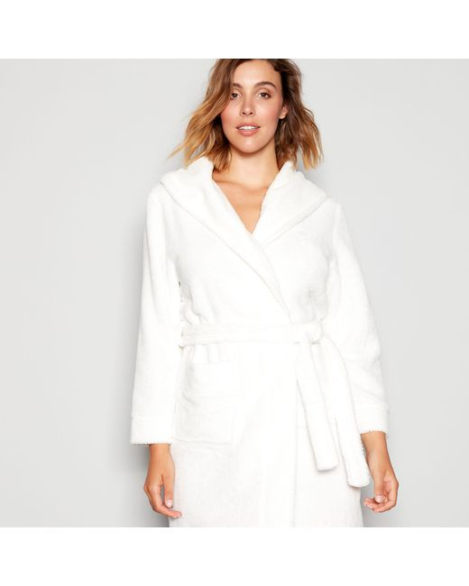 J By Jasper Conran White Waffle Trim Dressing Gown in White - Lyst 353c09ab2