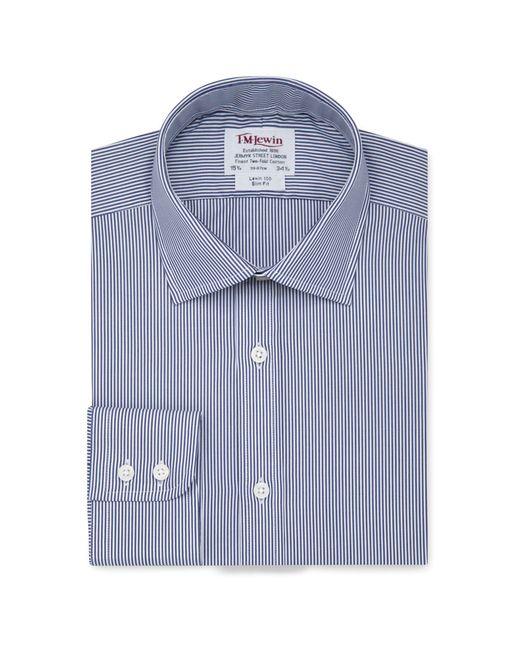 Tm Lewin - Blue Slim Fit Navy Bengal Stripe Regular Sleeve Length Shirt for Men - Lyst
