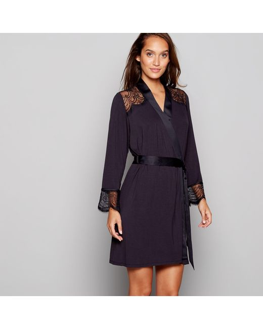 Ted Baker Black Lace Dressing Gown in Black - Lyst