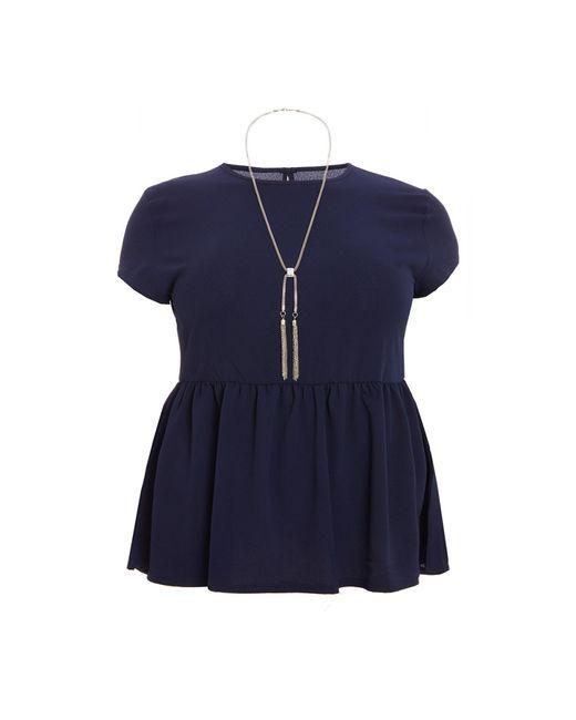 Quiz - Blue Curve Navy Crepe Necklace Top - Lyst