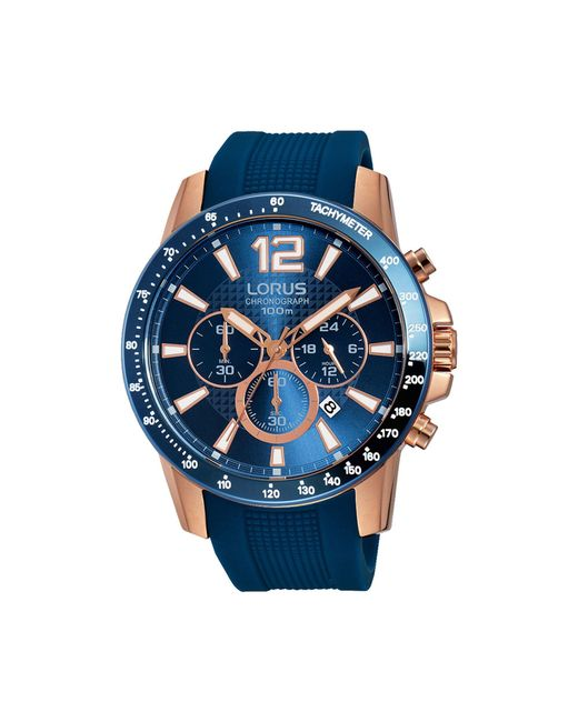 Lorus - Gents Rose Gold Case Chronograph On Blue Silicone Strap Rt392ex9 for Men - Lyst