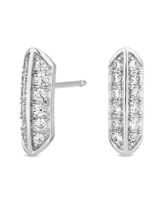 J By Jasper Conran - Metallic Designer Sterling Silver Pave Stud Earrings - Lyst