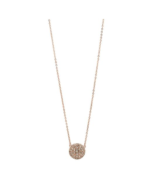 Fossil - Metallic Rose Gold Round Chain Pendant - Lyst
