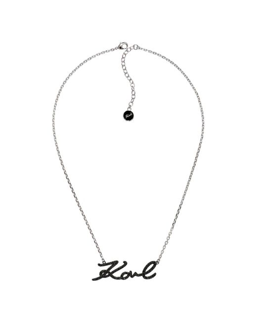 Karl Lagerfeld - Black Karl Signature Necklace Created With Swarovski Crystals - Lyst