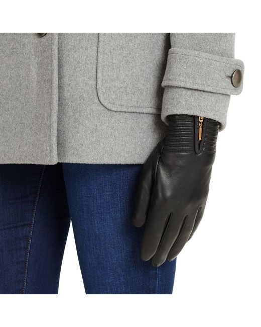 Phase Eight - Black Zip Leather Gloves for Men - Lyst