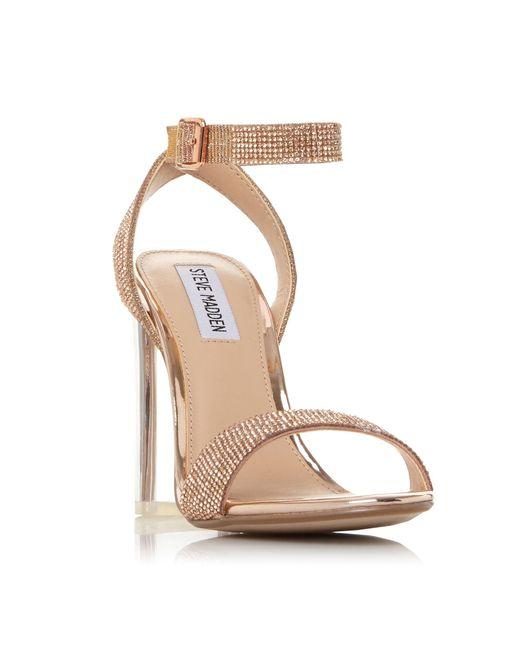 ebdf45d5ee8 Steve Madden - Multicolor Bronze  crysler  High Block Heel Sandals - Lyst  ...
