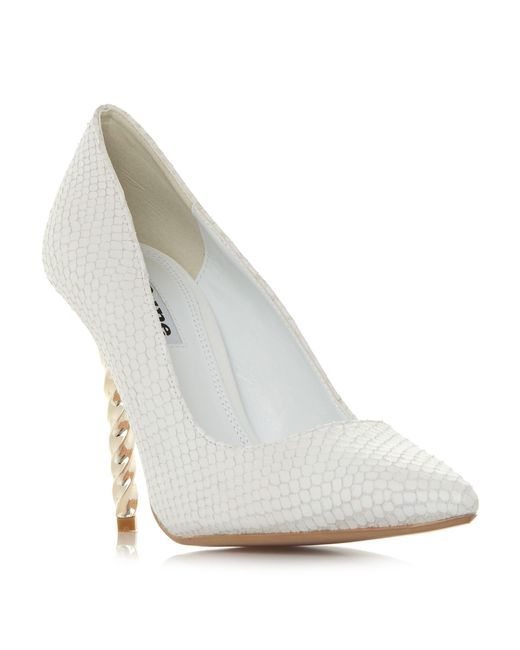 Dune - White 'aspiration' Stiletto Heel Court Shoes - Lyst