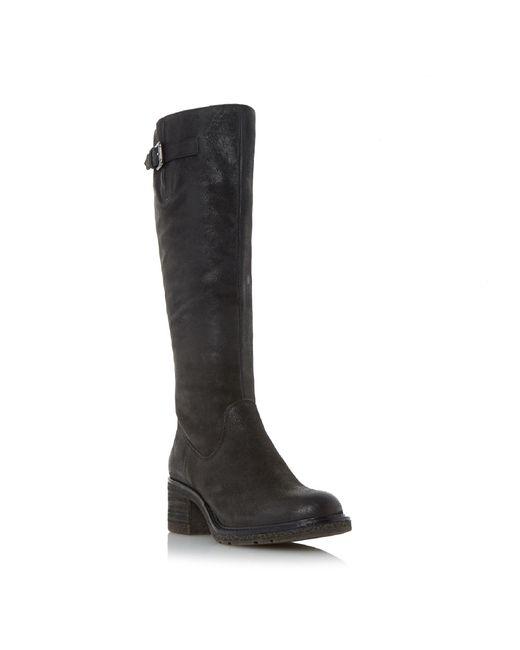 Dune - Black 'tedmund' Buckle Detail Knee High Boot - Lyst