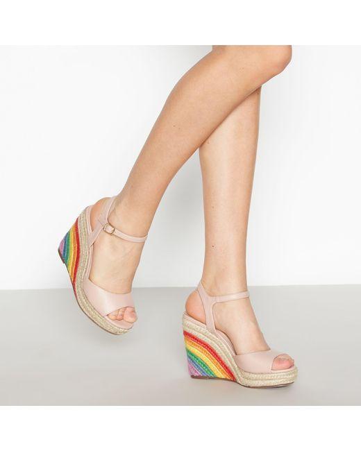 6e25eba742e Faith Nude Peep Toe  lester  Rainbow Wedge Heel Sandals in Natural ...