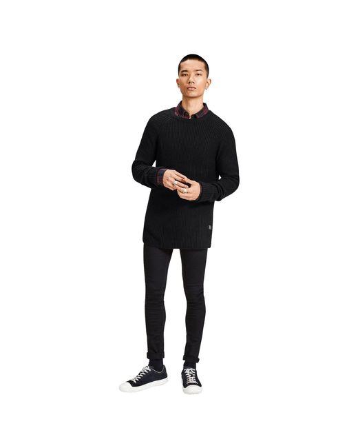 Jack & Jones - Black 'pannel' Knit Jumper for Men - Lyst