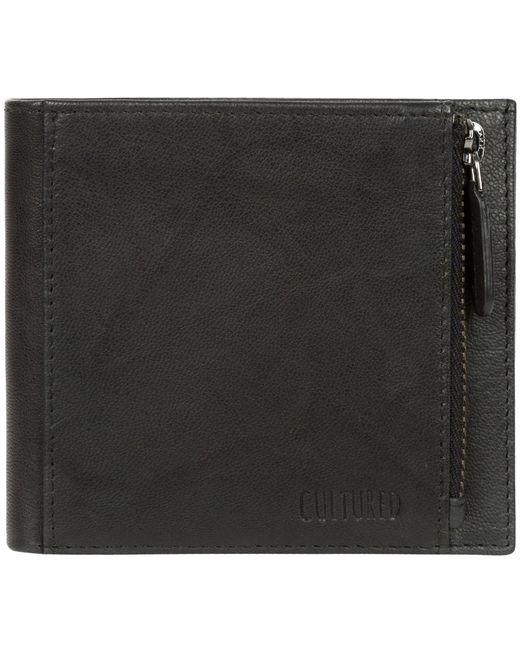 ca3e3a88fb1 Cultured London - Vintage Black 'wilson' Bi-fold Handmade Leather Wallet  for Men ...