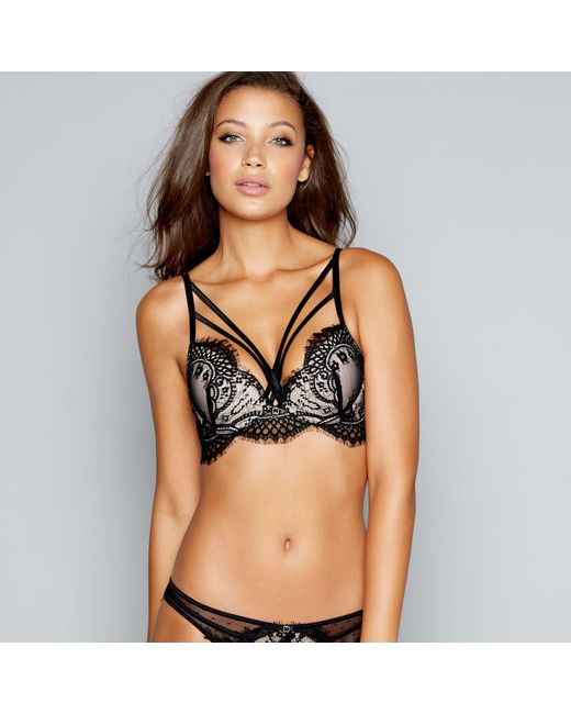 ef1f4b83517d ... Ann Summers - Black Lace Satin 'between Sheets' Underwired Padded  Plunge Bra - Lyst