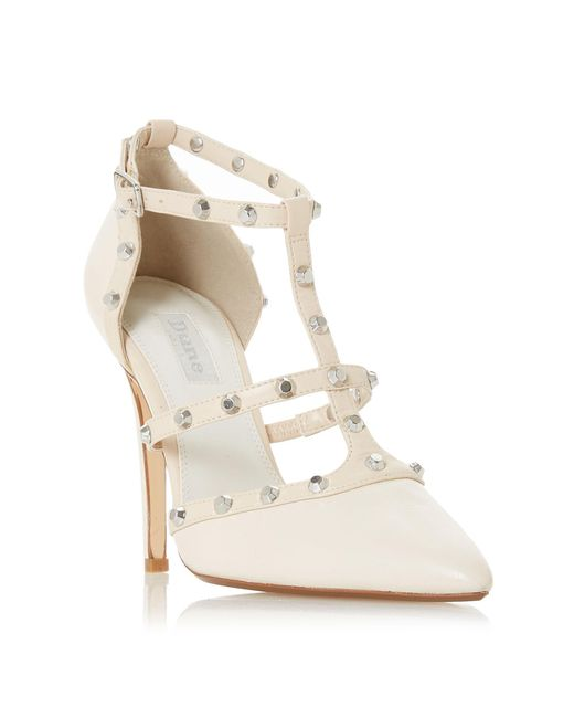 Dune - White Ivory Leather 'daeneryss' High Stiletto Heel Court Shoes - Lyst