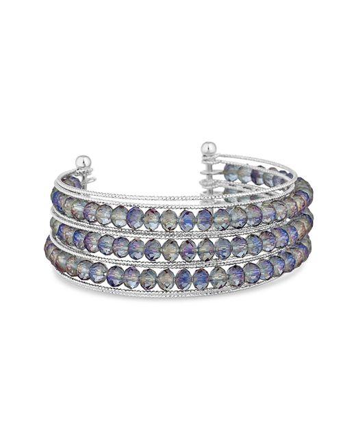 Lipsy - Metallic Faceted Beaded Cuff Bracelet - Lyst