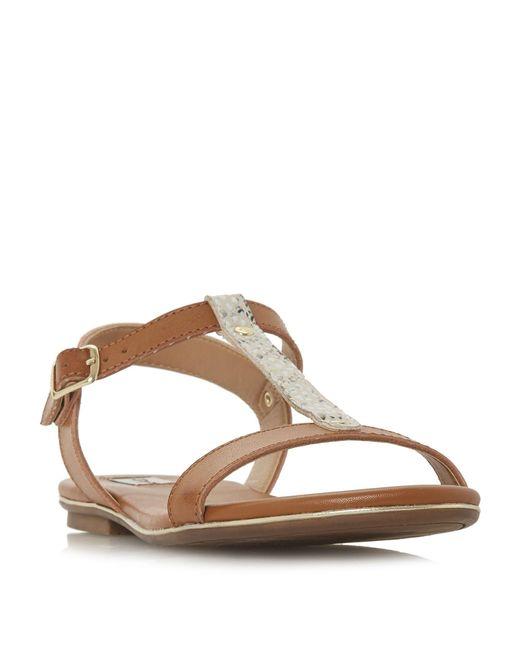 Dune - Brown Tan 'ladder' T-bar Sandals - Lyst