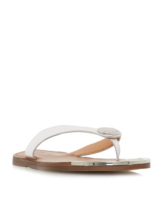 0dc3149a7a11 Dune White Leather  lagos  T-bar Sandals in White - Lyst