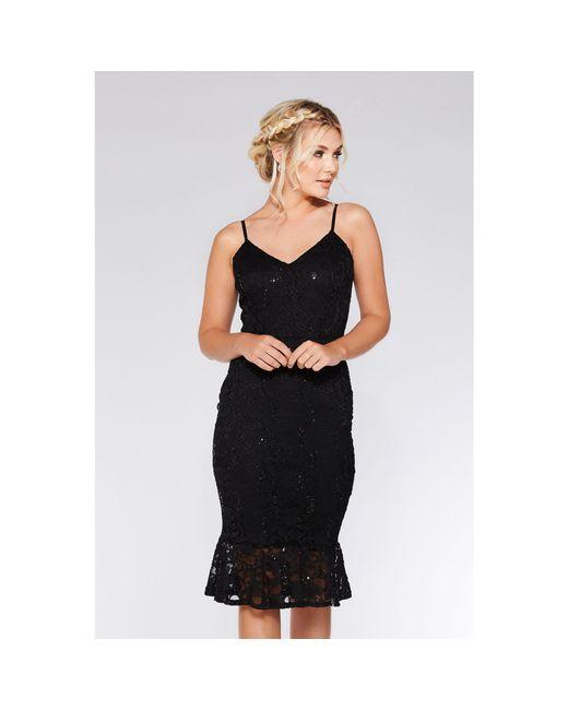 Quiz Black Lace Sequin Frill Hem Midi Dress In Black Lyst