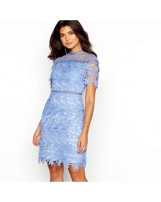 Chi Chi London - Light Blue Broderie Anglasie 'willow' High Neck Short Sleeve Mini Dress - Lyst