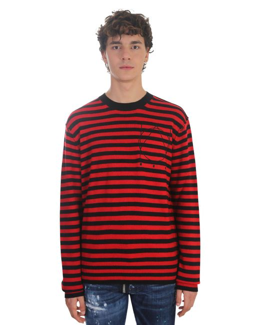 McQ Alexander McQueen | Red Wool And Cashmere Striped Sweater for Men | Lyst