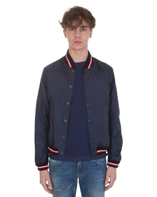 Moncler | Blue Nylon Bomber Jacket With Threecolour Details for Men | Lyst