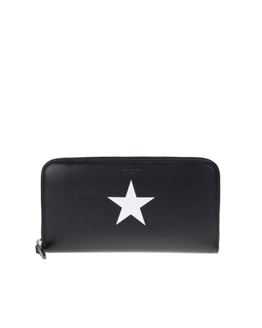 Givenchy | Black Leather Zip Around Pandora Wallet With White Star | Lyst