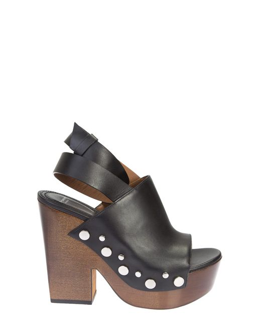 Givenchy | Black Leather With Studs Clog Sandals | Lyst