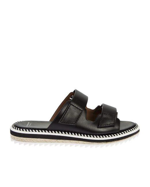 Givenchy | Black Leather Rockert Sandals | Lyst
