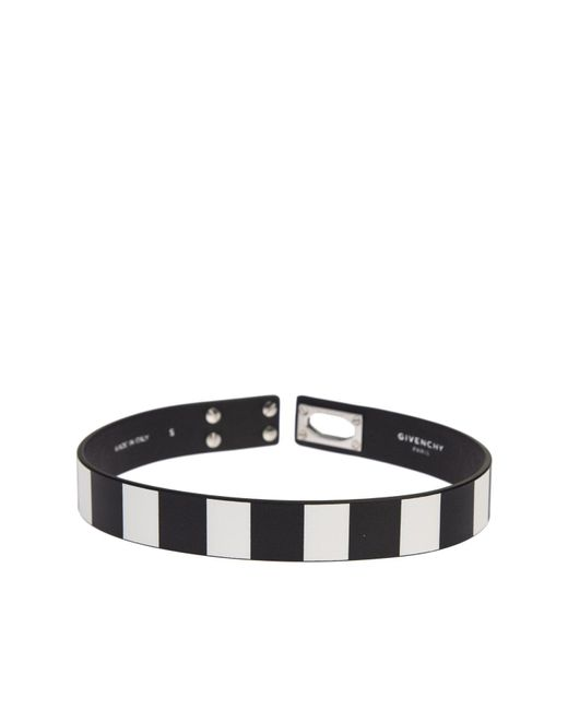 Givenchy | Black And White Leather Row Shark Bracelet | Lyst