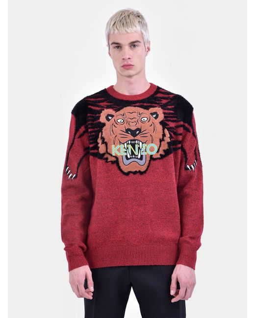 728676f9 ... KENZO - Red Cotton Blend Sweater for Men - Lyst ...