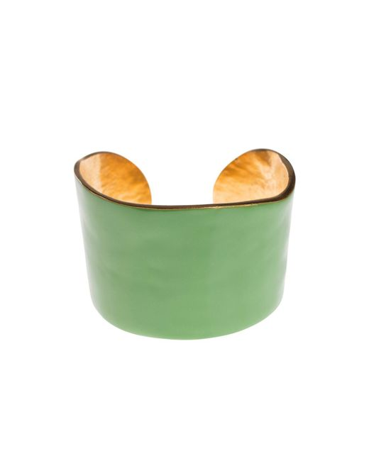 LITTLE WOMAN PARIS - Green Metal And Resin Bangle - Lyst